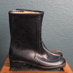 Shoes - Waterproof Rain Snow Boots Black Leather Inner Fur